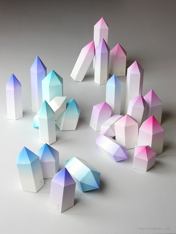 Geometric Crystal Advent Calendar with Gradient Trend from Mr. Printables on Adorn Design Co.'s Blog